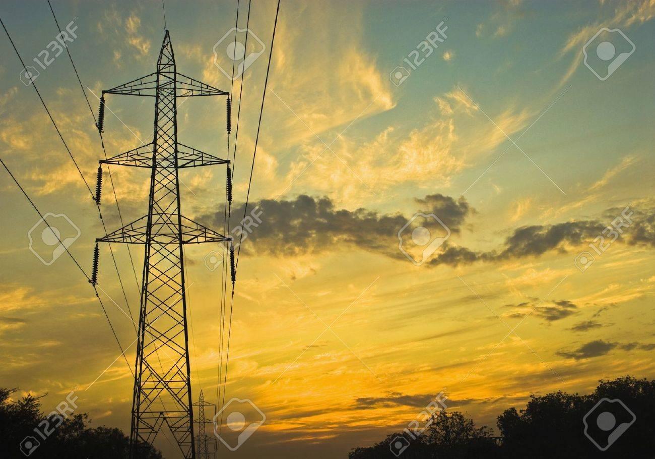 Clouds over an electricity pylon, Gurgaon, Haryana, India Stock Photo - 10205460