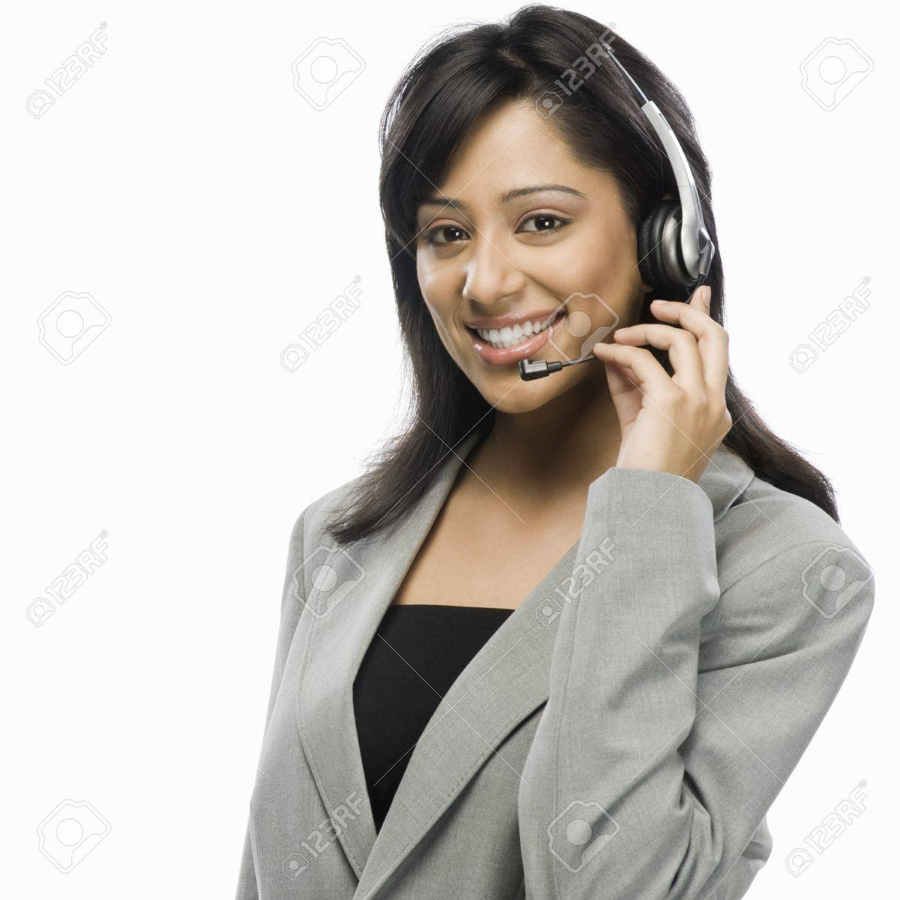 Portrait of a female customer service representative smiling Stock Photo - 10125438
