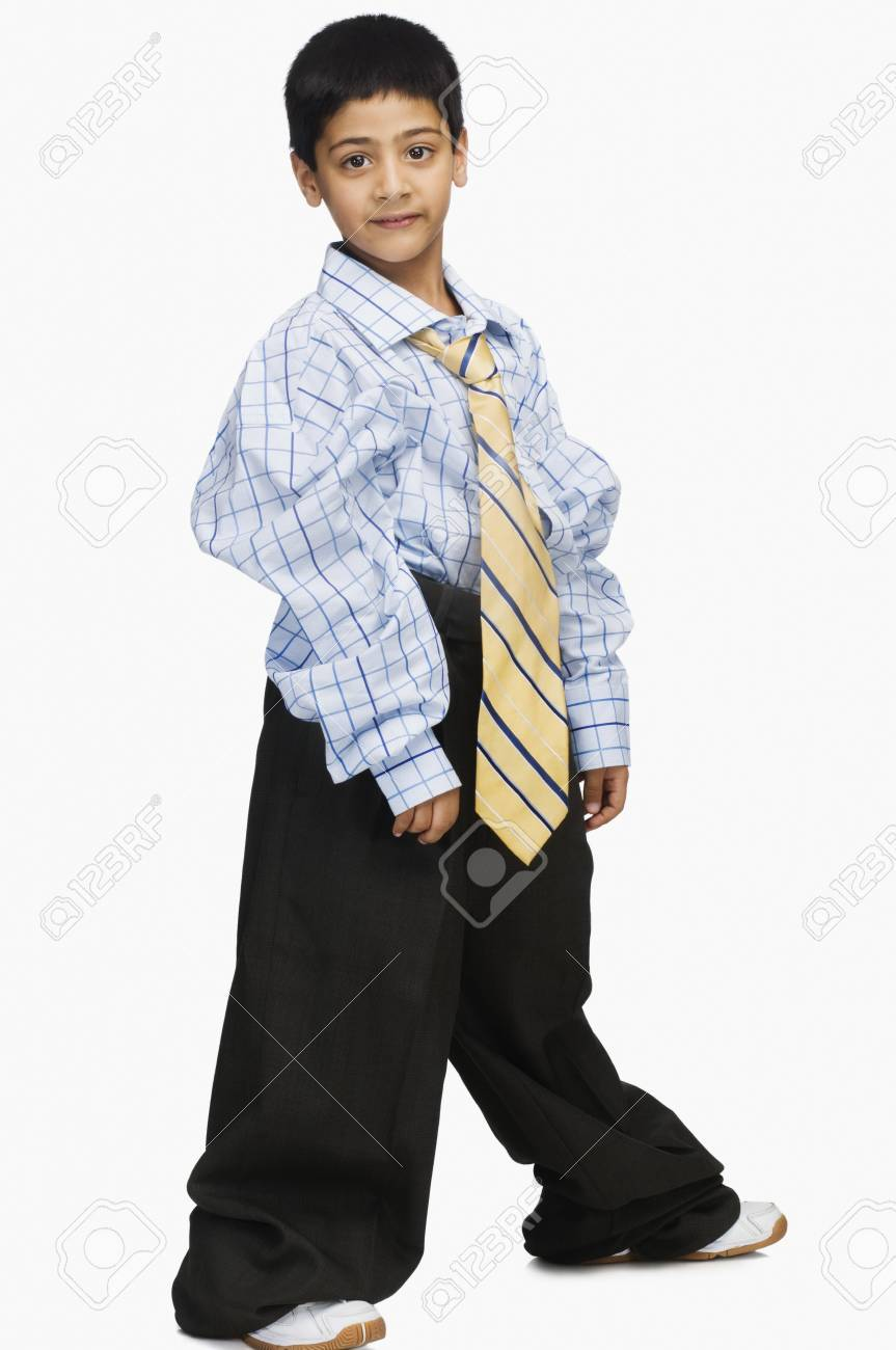 Portrait of a boy wearing oversized clothes Stock Photo - 10125416