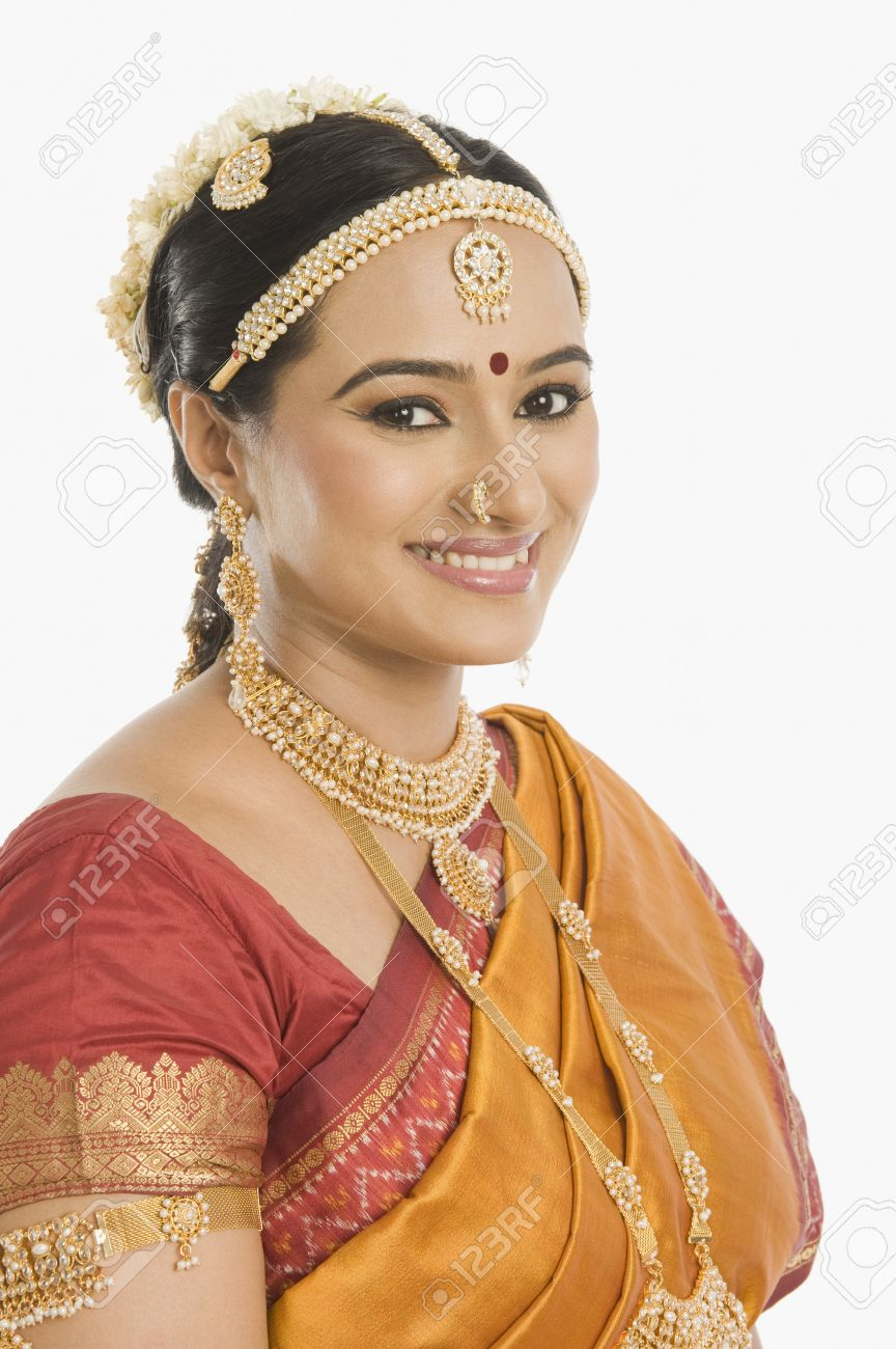 South Indian woman smiling Stock Photo - 10169060