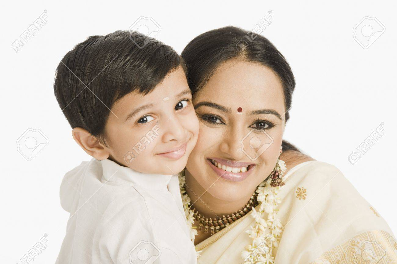 Portrait of a woman smiling with her son Stock Photo - 10124648