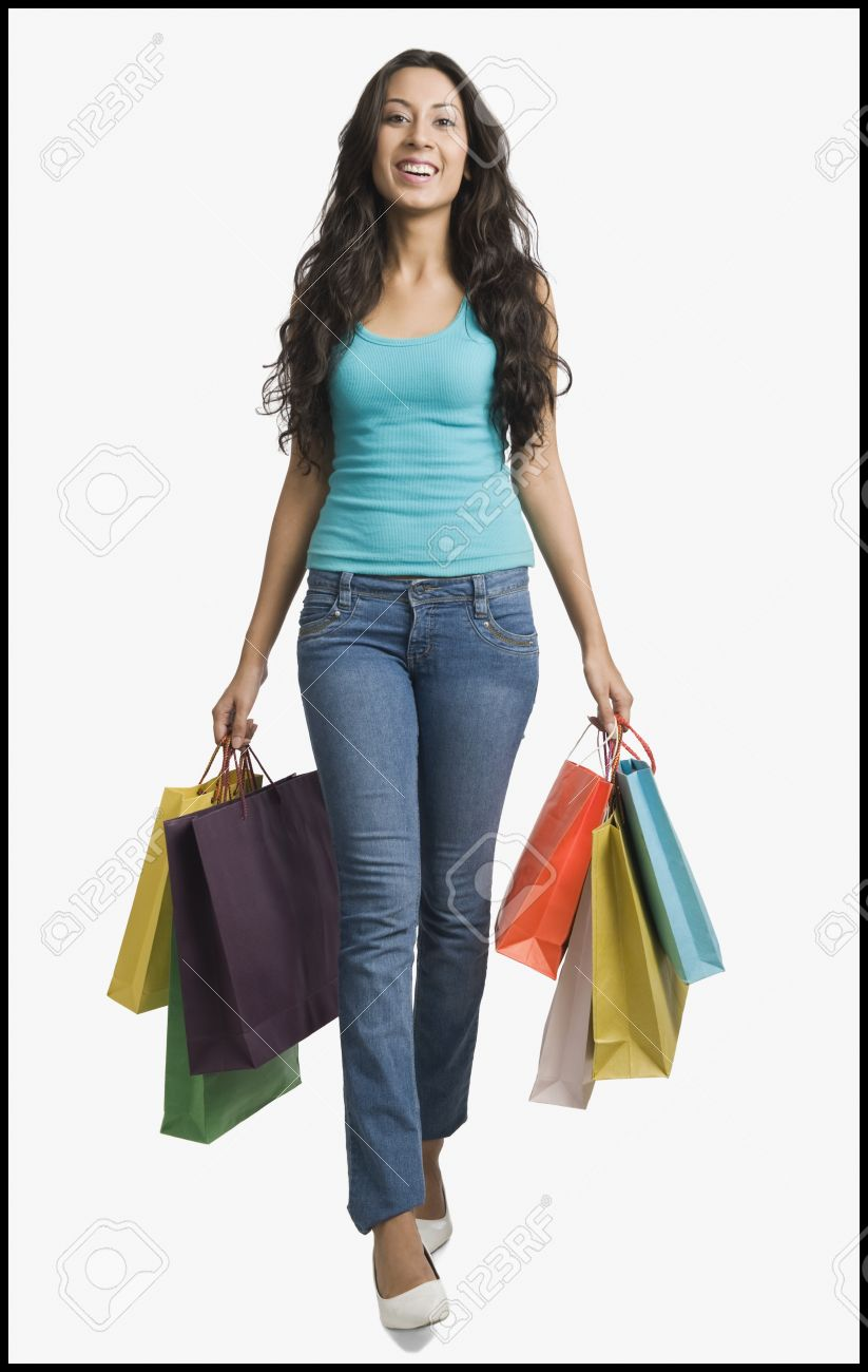Woman Carrying Shopping Bags Stock Photo, Picture And Royalty Free ...