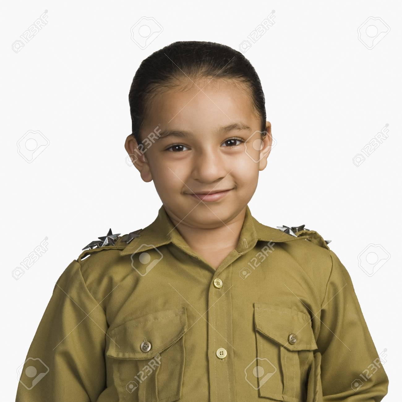 Girl dressed as a police officer and smiling Stock Photo - 10169247