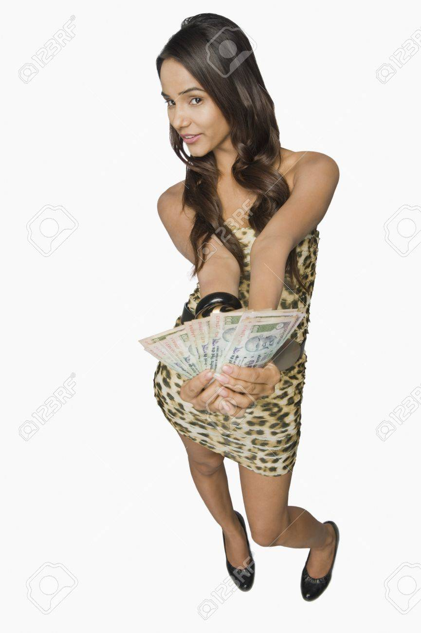 Woman showing currency notes Stock Photo - 10168862
