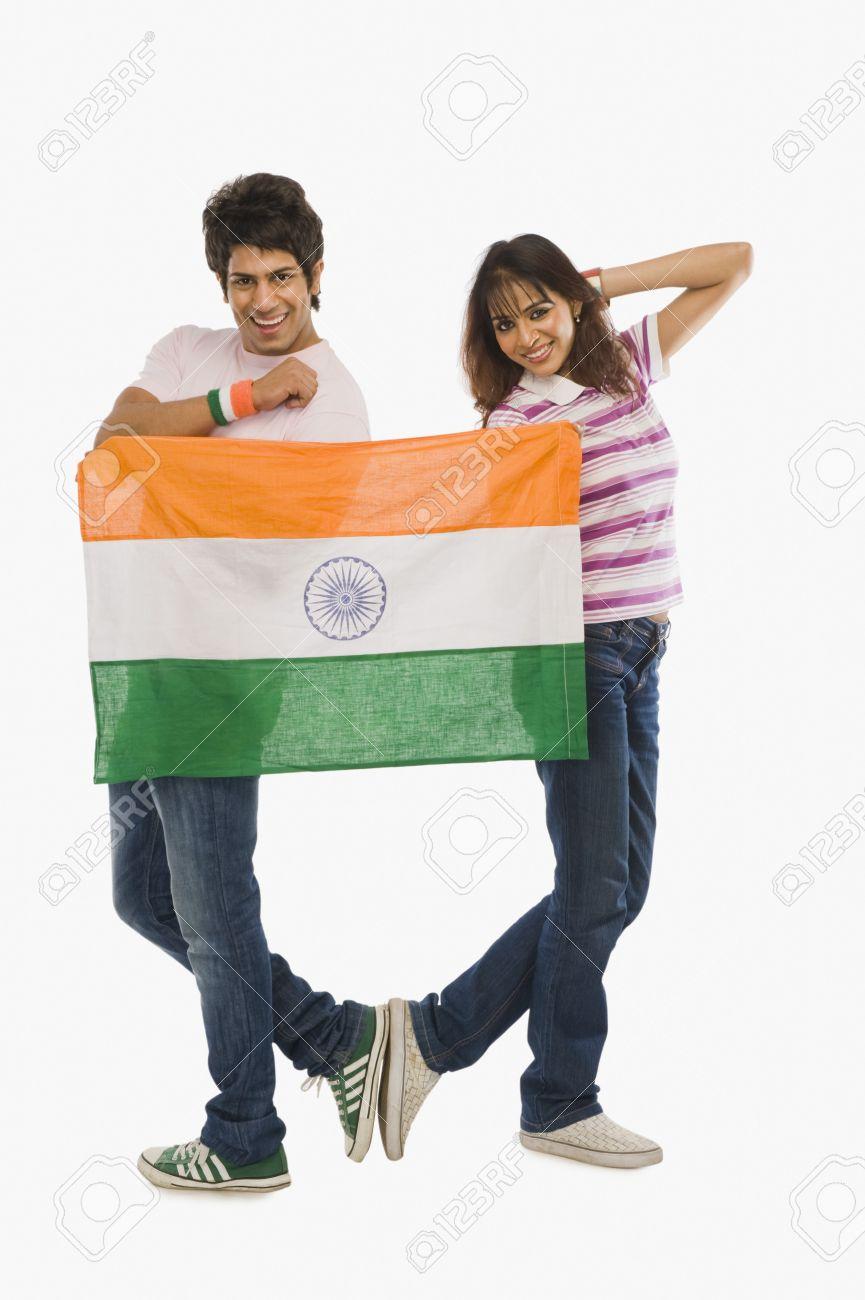 Couple holding Indian flag Stock Photo - 10167058