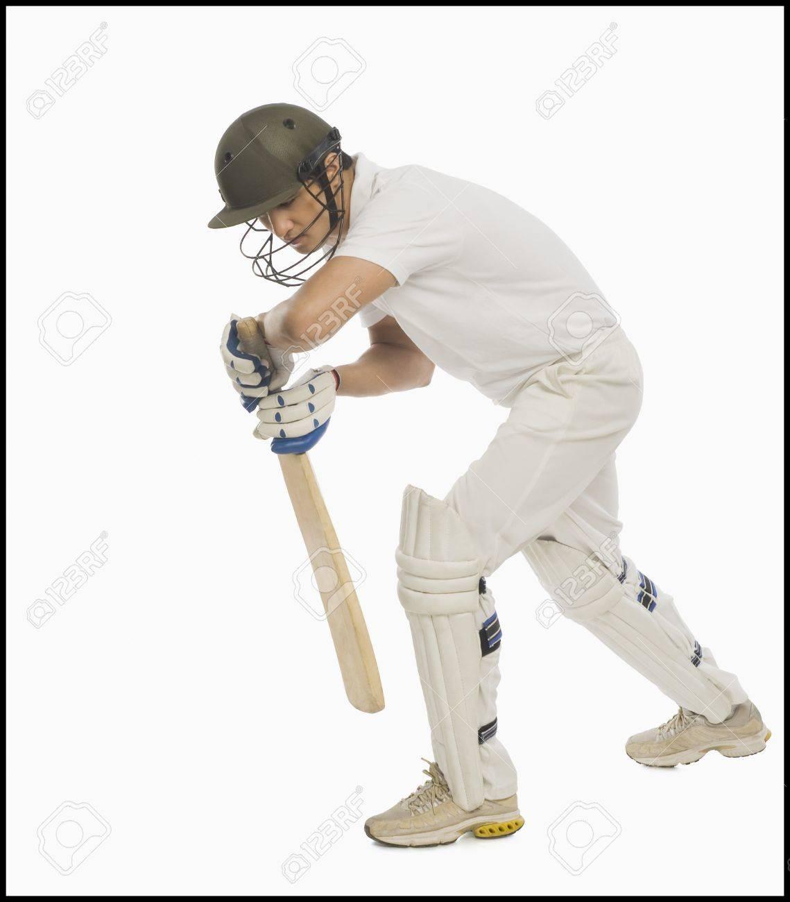 Batsman in forward defensive stance Stock Photo - 10169035