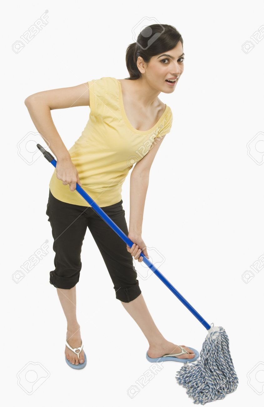 Woman cleaning floor with a mop Stock Photo - 10168857