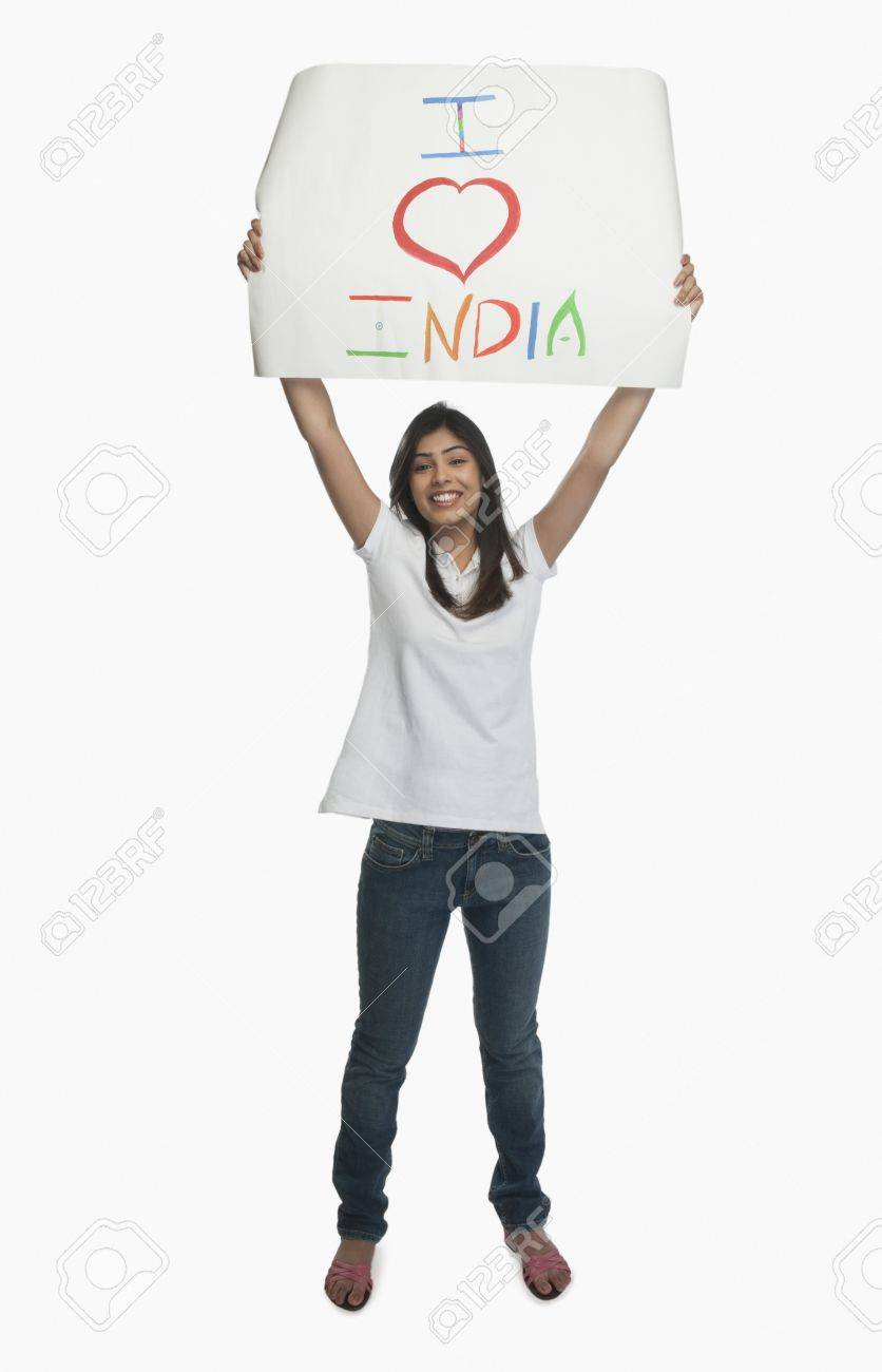 Woman holding a placard with text I Love India written on it Stock Photo - 10166734
