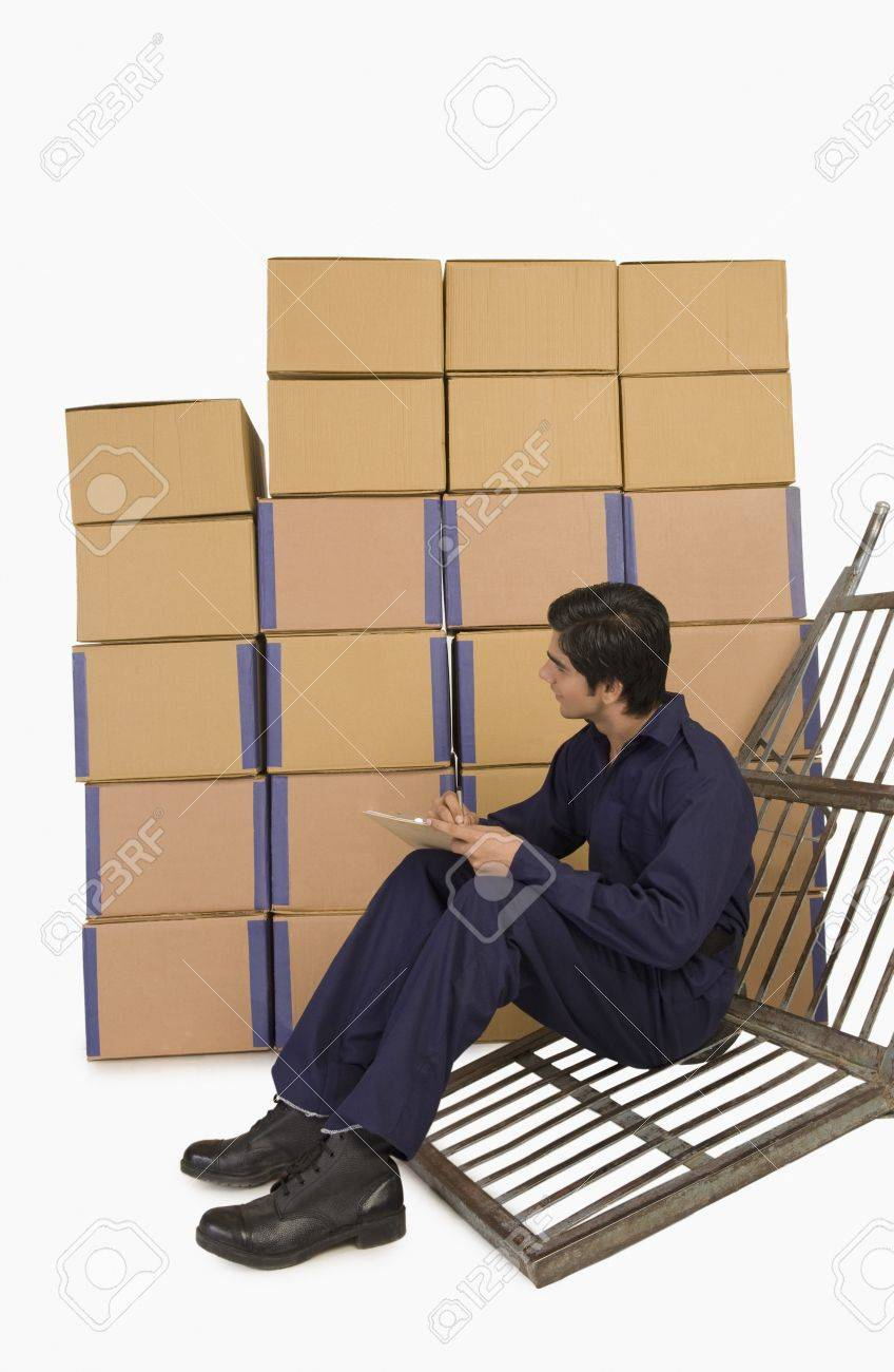 Store incharge checking inventory Stock Photo - 10168388