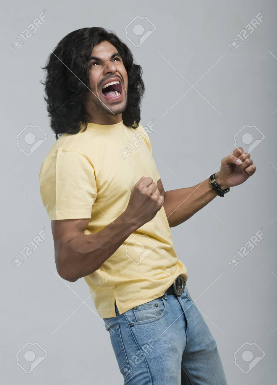 Close-up of a man cheering Stock Photo - 10168070