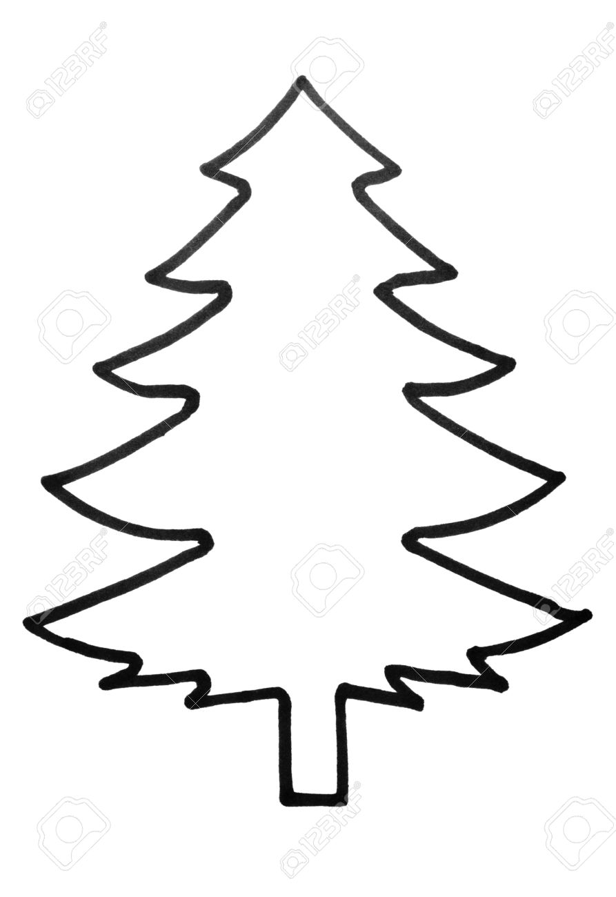 Christmas Tree Outline.Outline Of A Christmas Tree