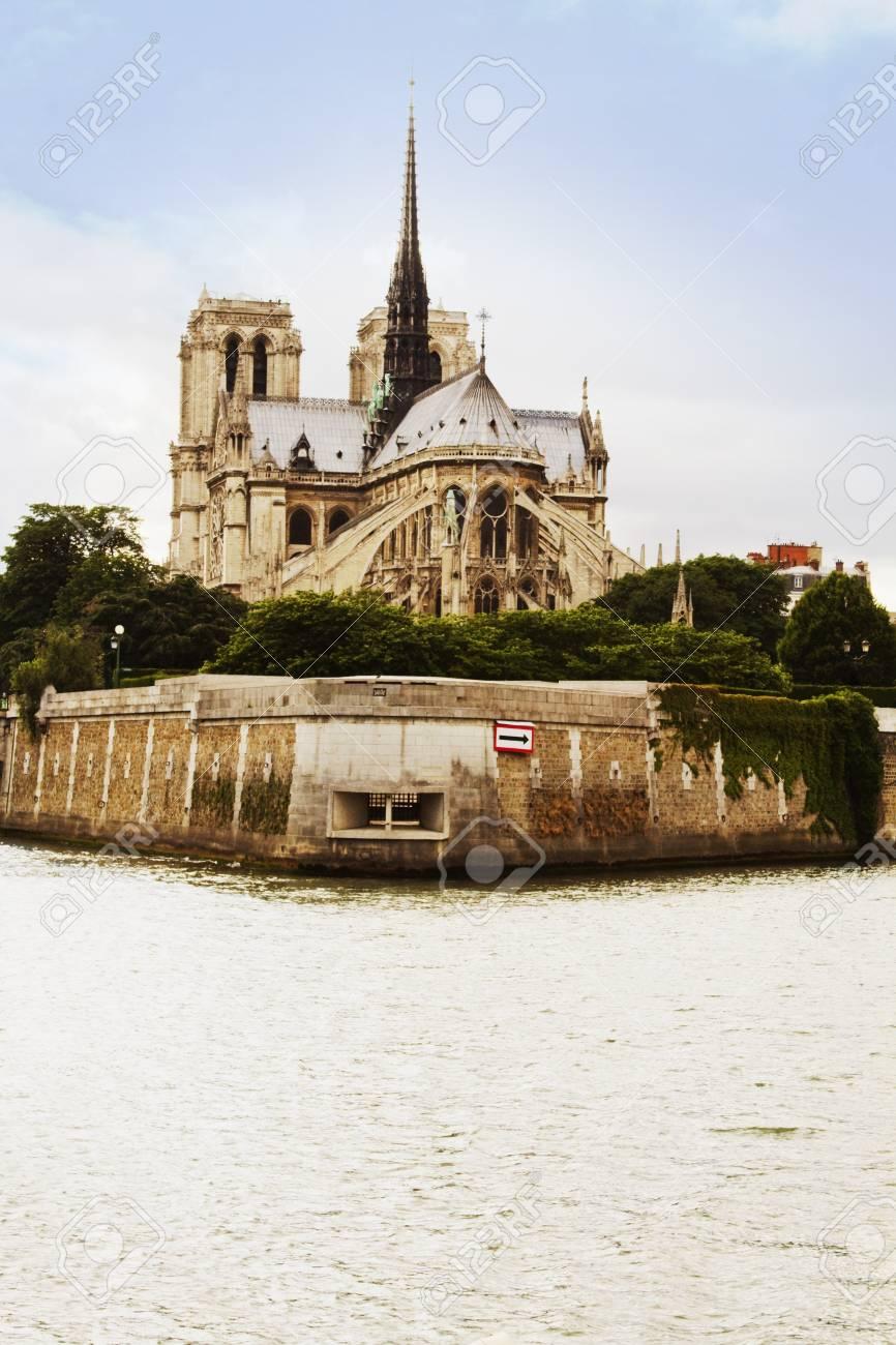 Cathedral at the riverside, Notre Dame de Paris, Seine River, Paris, France Stock Photo - 10245905