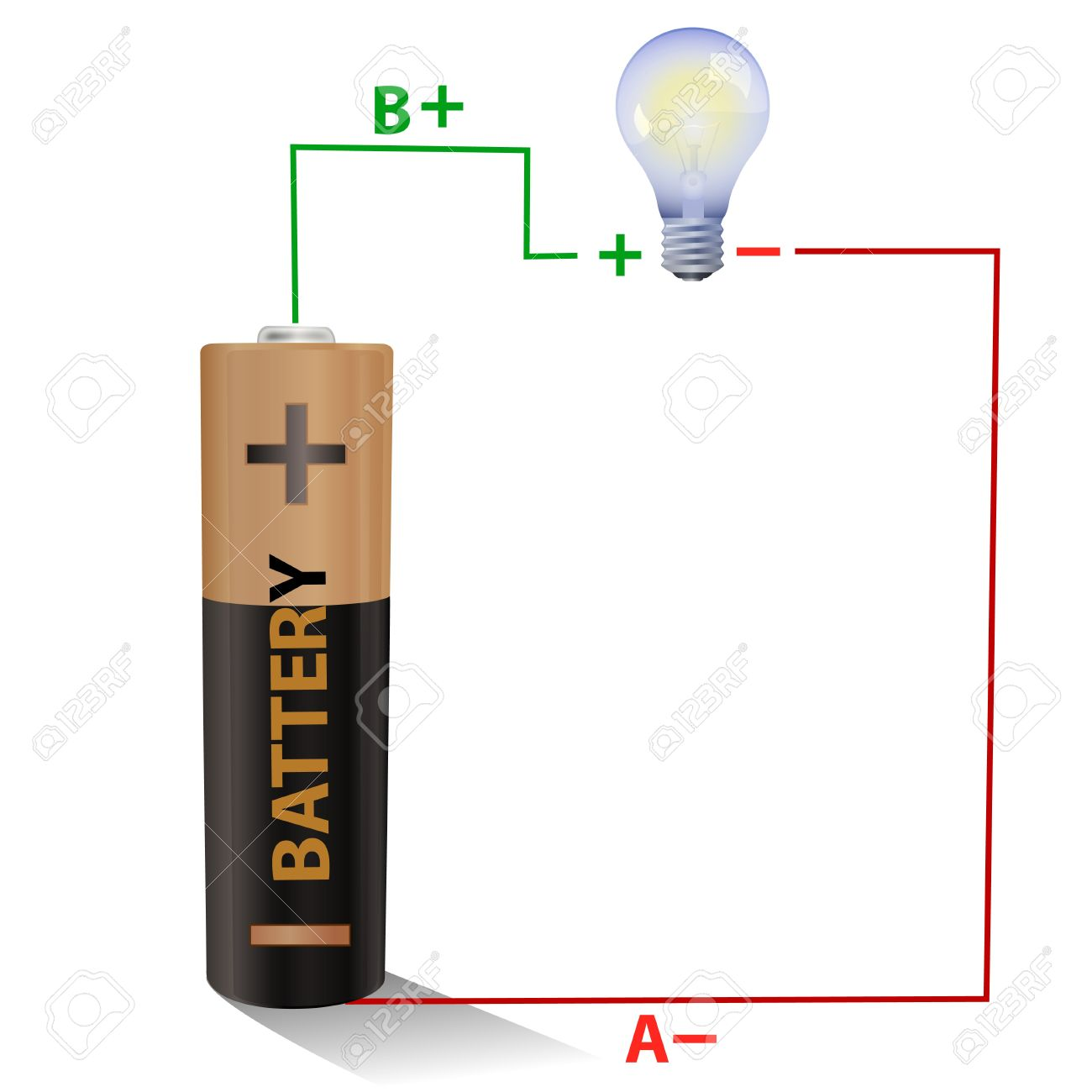 Battery connected to a light bulb Stock Photo - 10245615