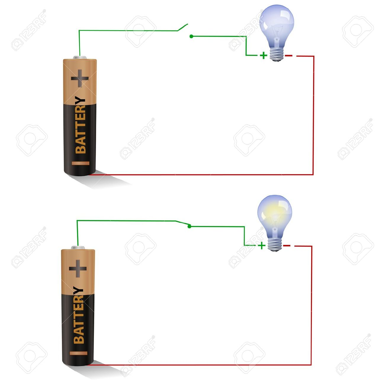 Electric Circuit Showing Open And Closed Switches Using A Light Bulb And  Battery Stock Photo