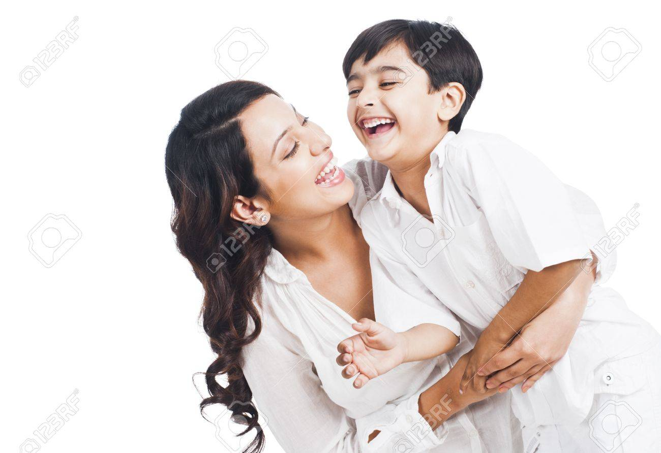 Happy mother and son smiling Stock Photo - 24698189