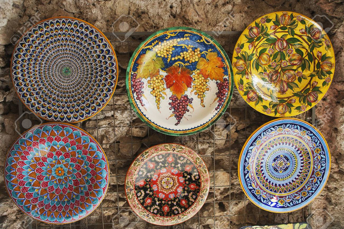 Decorative plates hanging at a market stall Amalfi Province Of Salerno C&ania & Decorative Plates Hanging At A Market Stall Amalfi Province ...