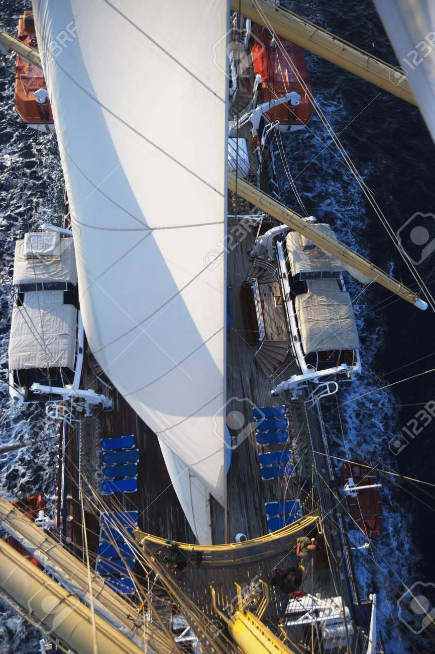 Clipper ship in the sea, Tyrrhenian Sea, Sicily, Italy Stock Photo - 24665386
