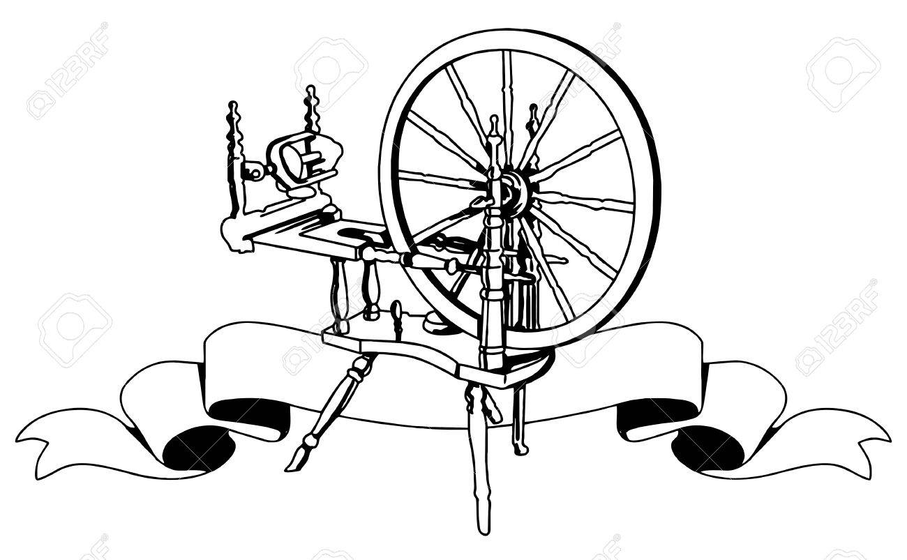 Illustrative Representation Of A Cotton Weaving Spinning Wheel ...