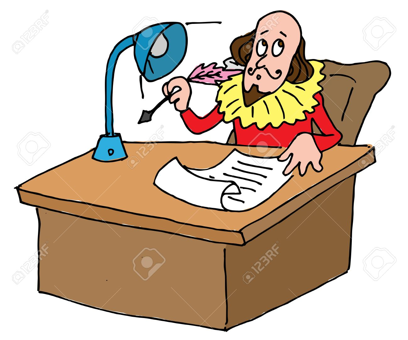 illustrative representation of shakespeare s desk royalty free rh 123rf com shakespeare animated clipart iago shakespeare clipart