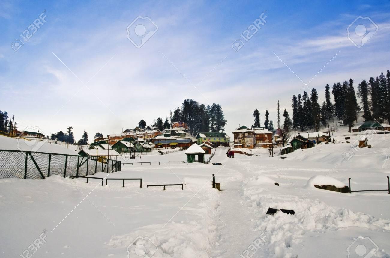 ski resort in winter, gulmarg, jammu and kashmir, india stock photo