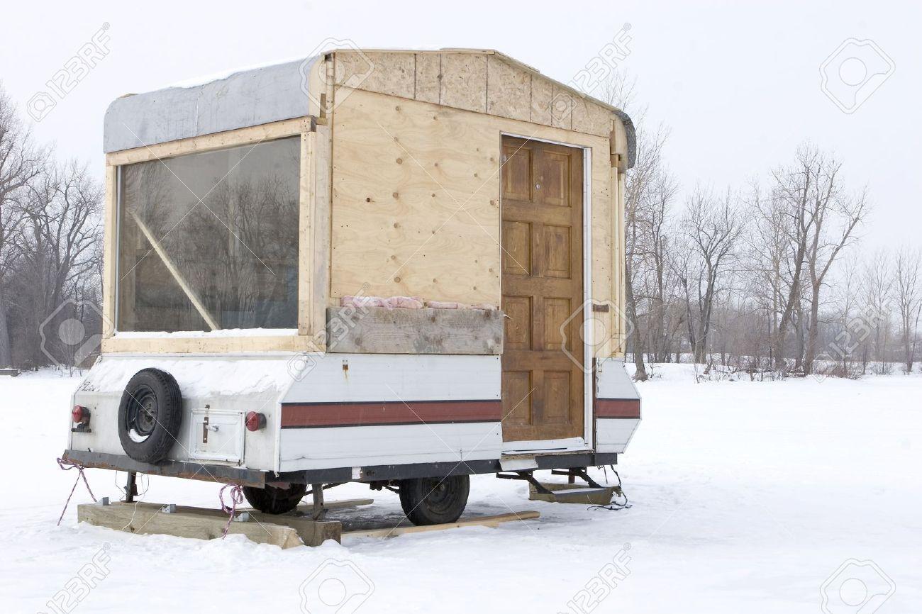 Hillbilly Ice Fishing Trailer Stock Photo