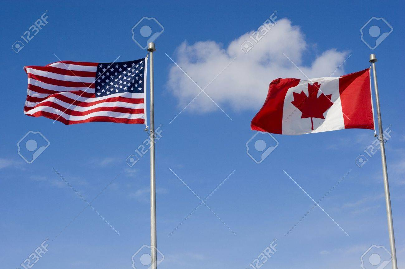 us and canadian flag stock photos royalty free us and canadian