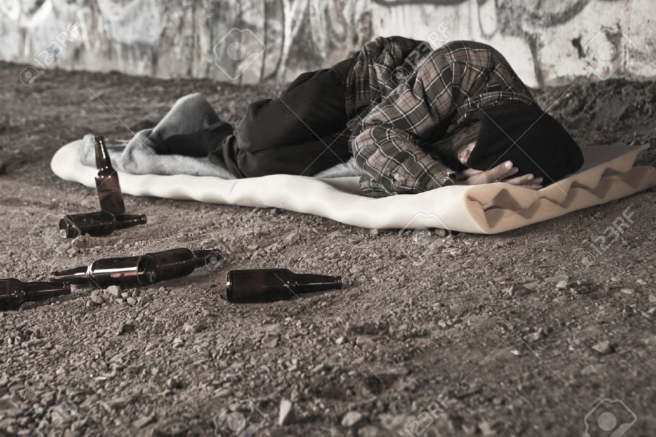 Homeless Alcoholic Drinking Beer Stock Photo, Picture And Royalty ...