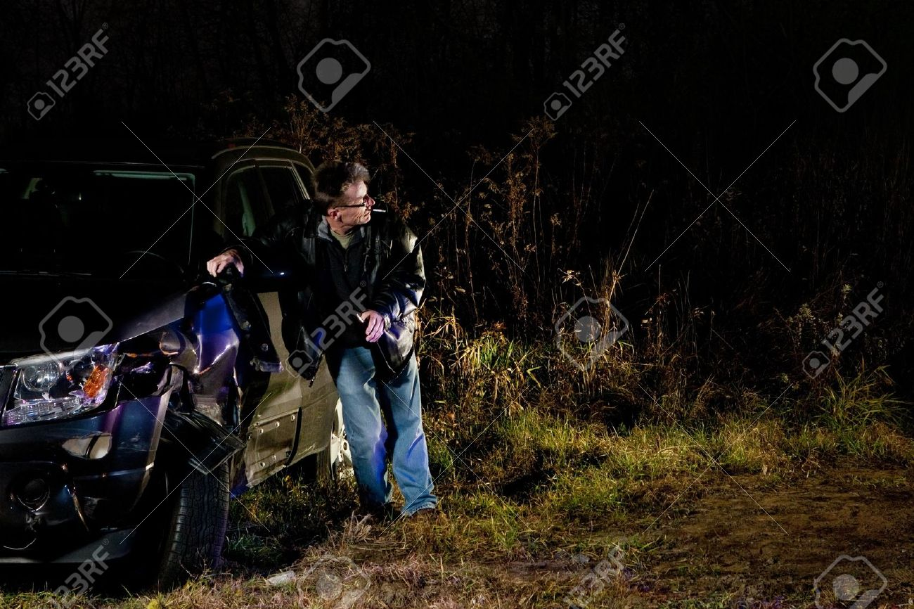 Drunk man in a car accident after a hit and run Stock Photo - 11700152
