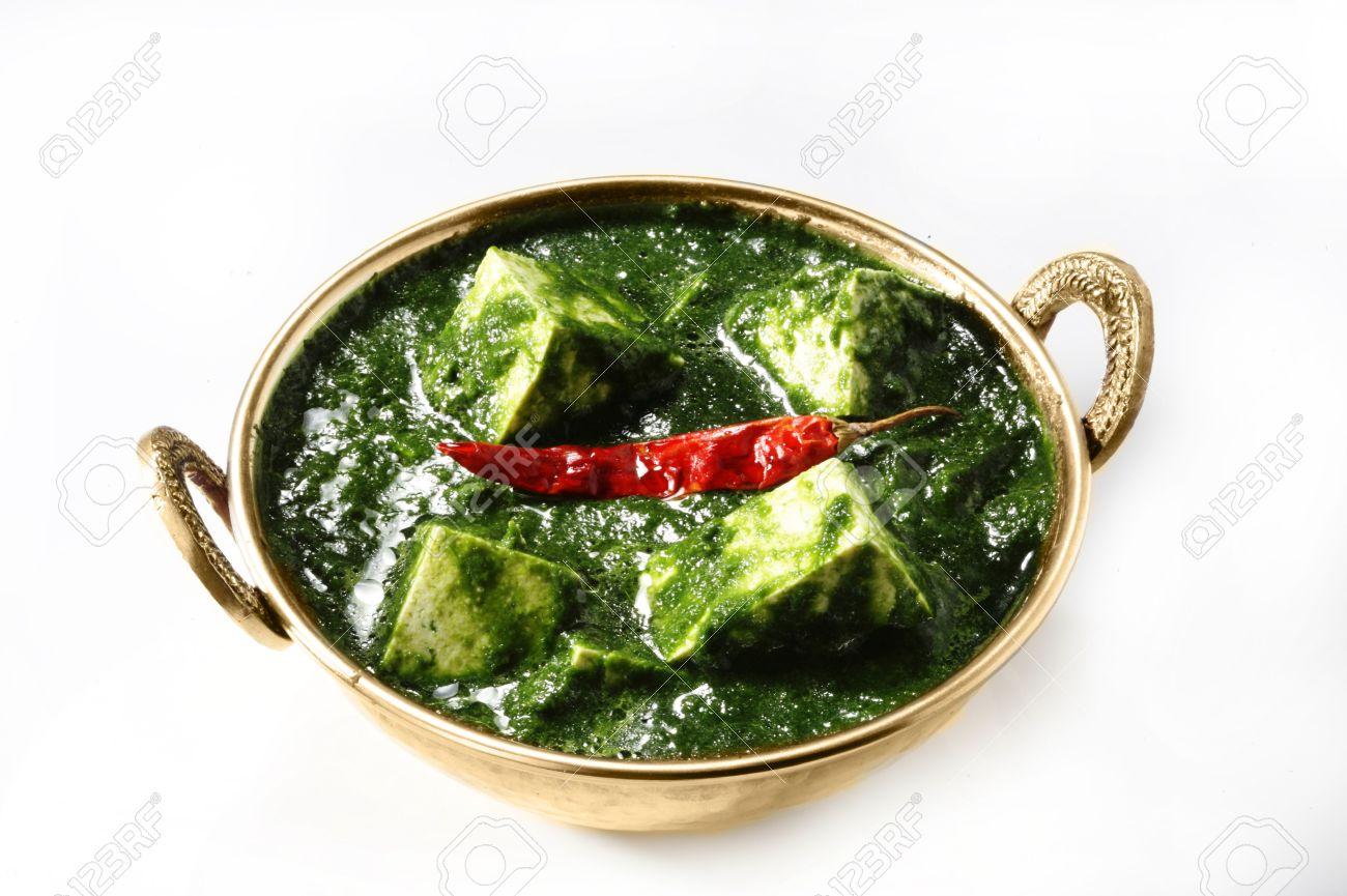 Palak paneer garnished with red chili Stock Photo - 17327281