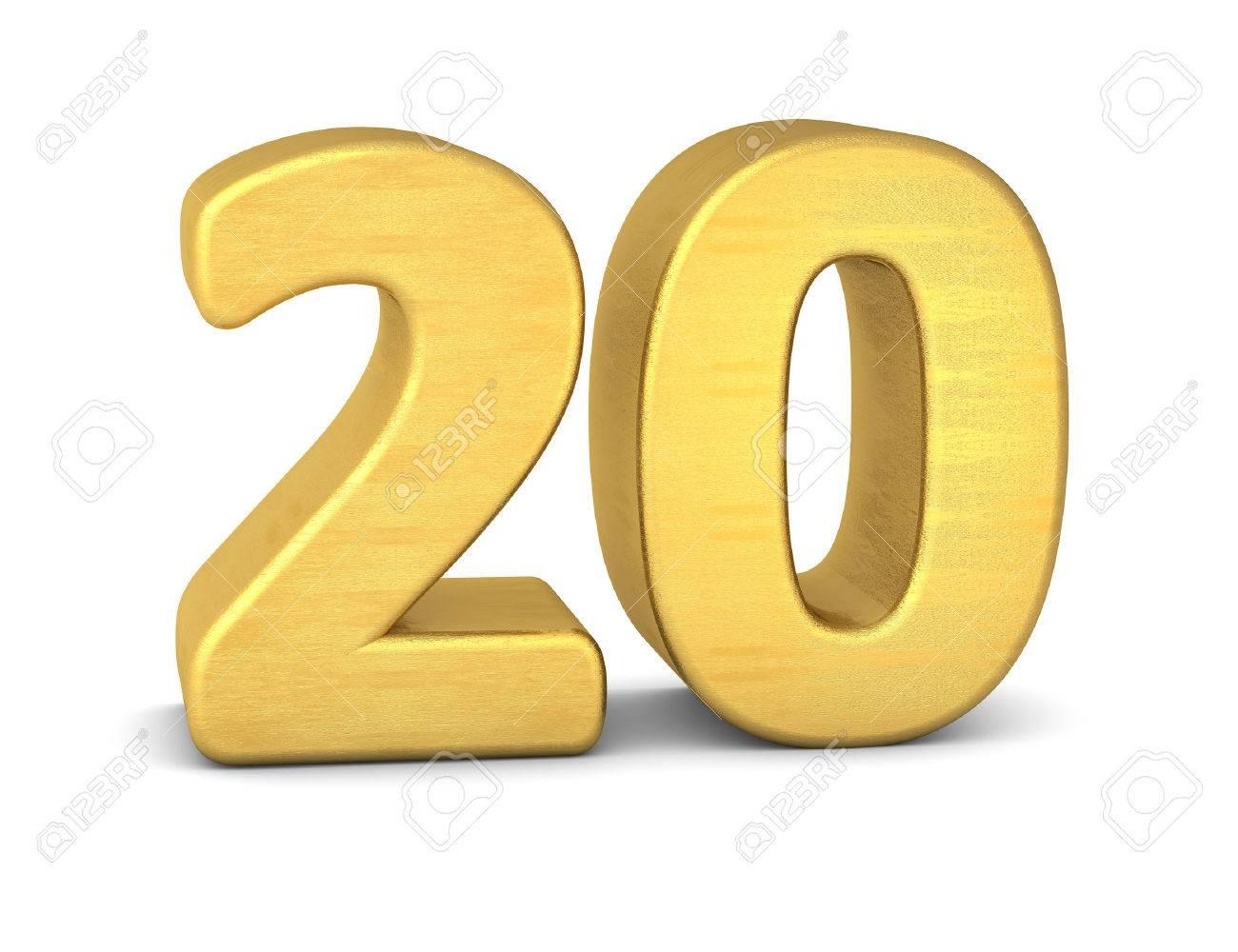 3 d の数 20 ゴールド ロイヤリティーフリーフォト ピクチャー 画像