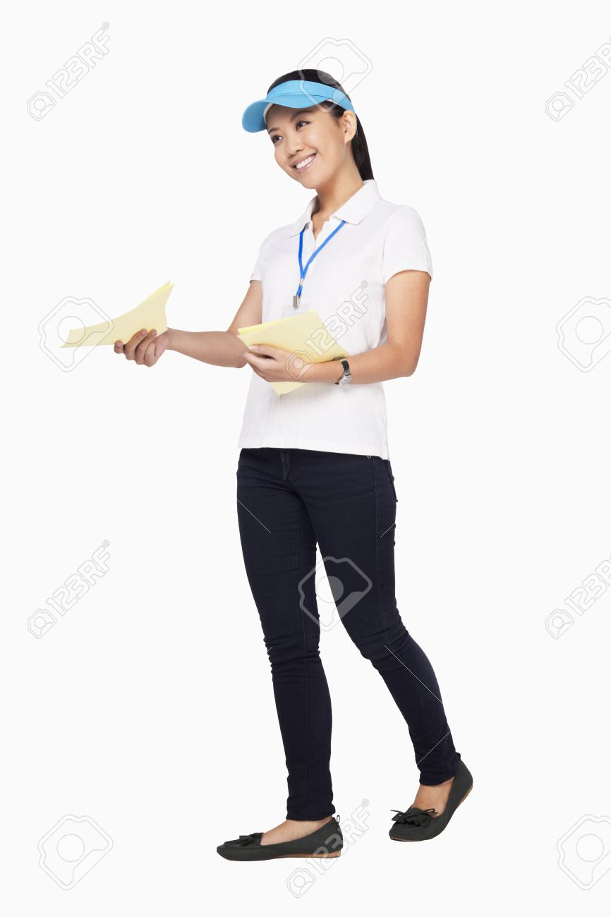 woman handing out flyers stock photo picture and royalty free image