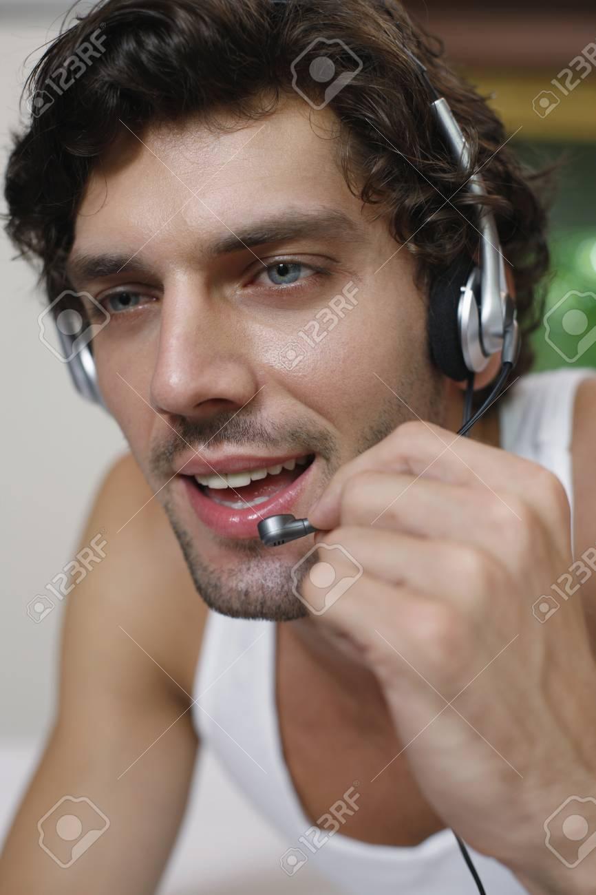 Man talking on headset Stock Photo - 6974179