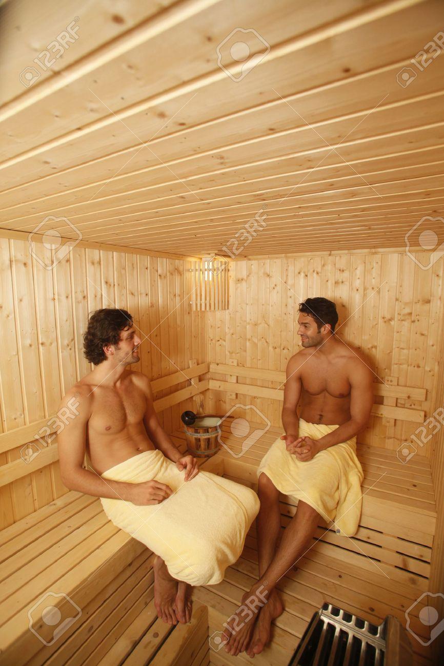 Men relaxing in sauna Stock Photo - 6974311