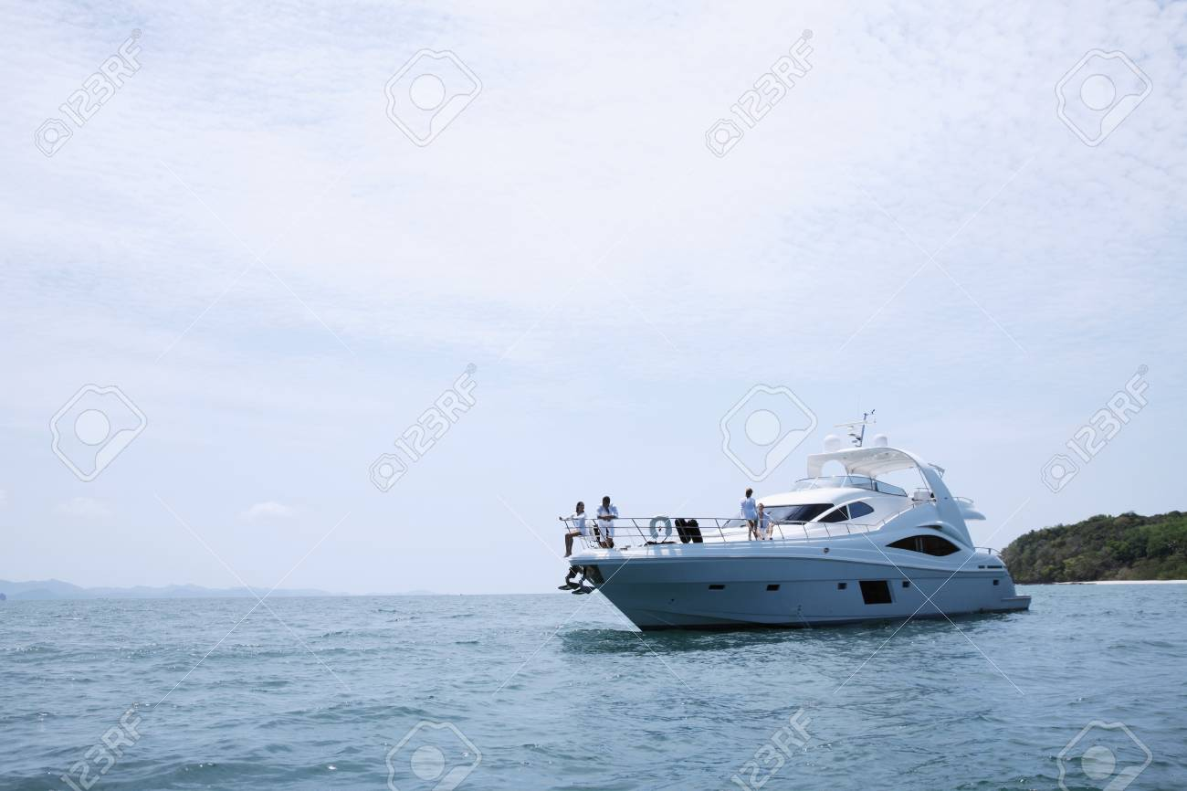 Two couples relaxing on yacht Stock Photo - 7361903