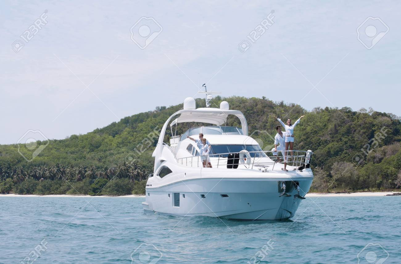 Two couples on yacht Stock Photo - 7446956