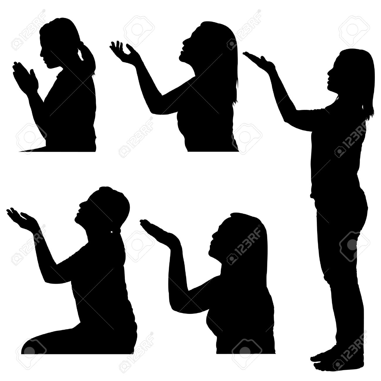 Woman Praying Clipart Silhouettes of Woman Praying