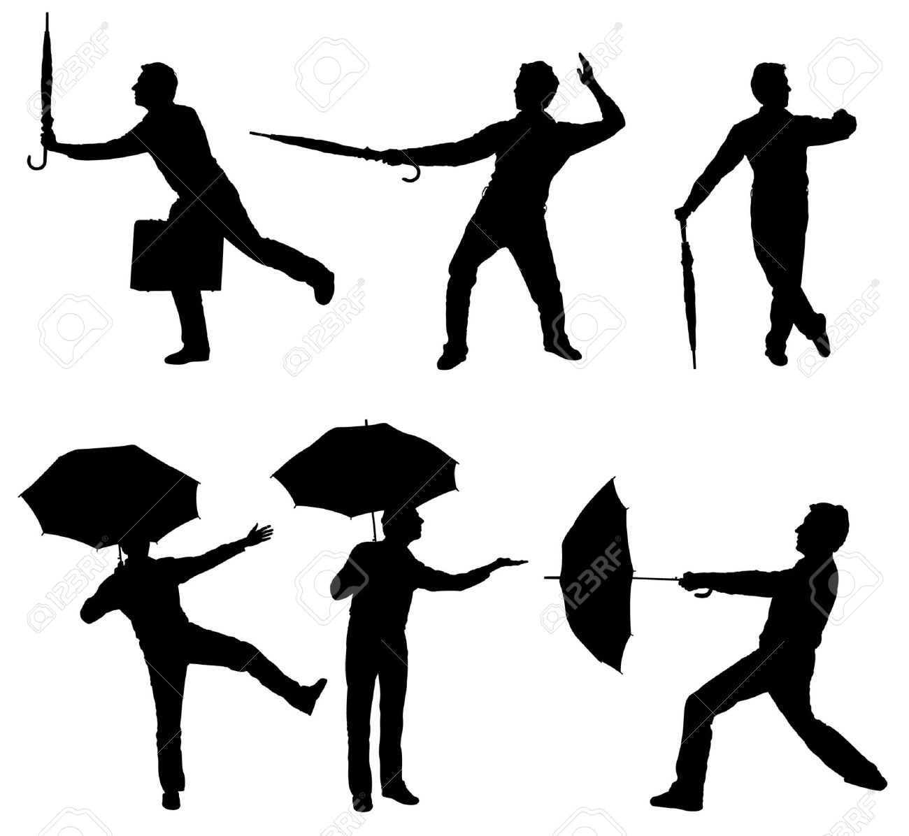 Silhouettes of man holding an umbrella in different poses Stock Vector - 7773850