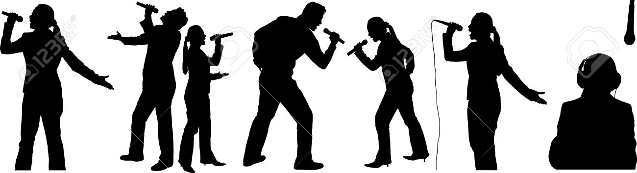 Silhouettes of people singing Stock Vector - 7773856