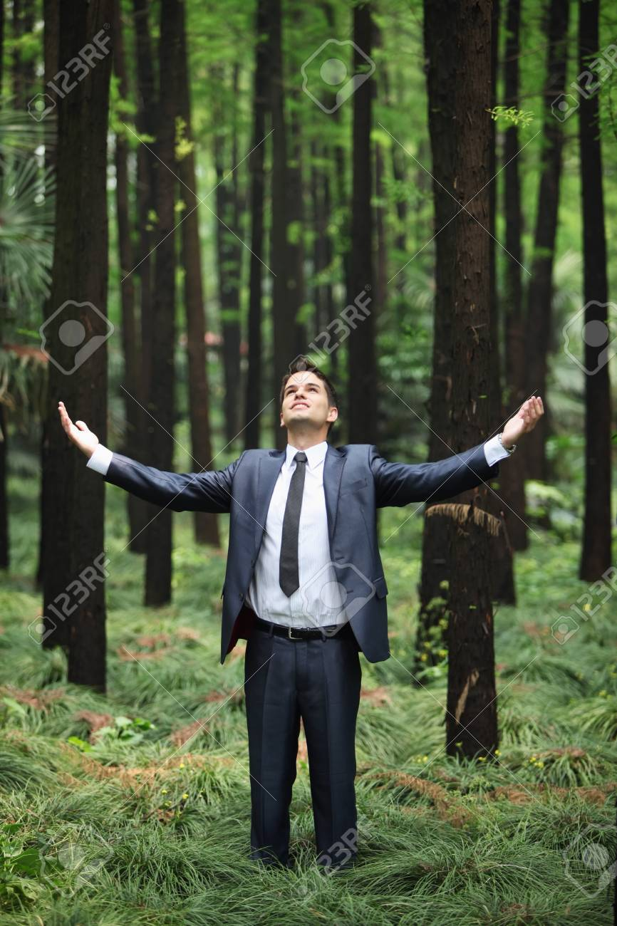 Businessman standing with arms outstretched in forest Stock Photo - 8149275