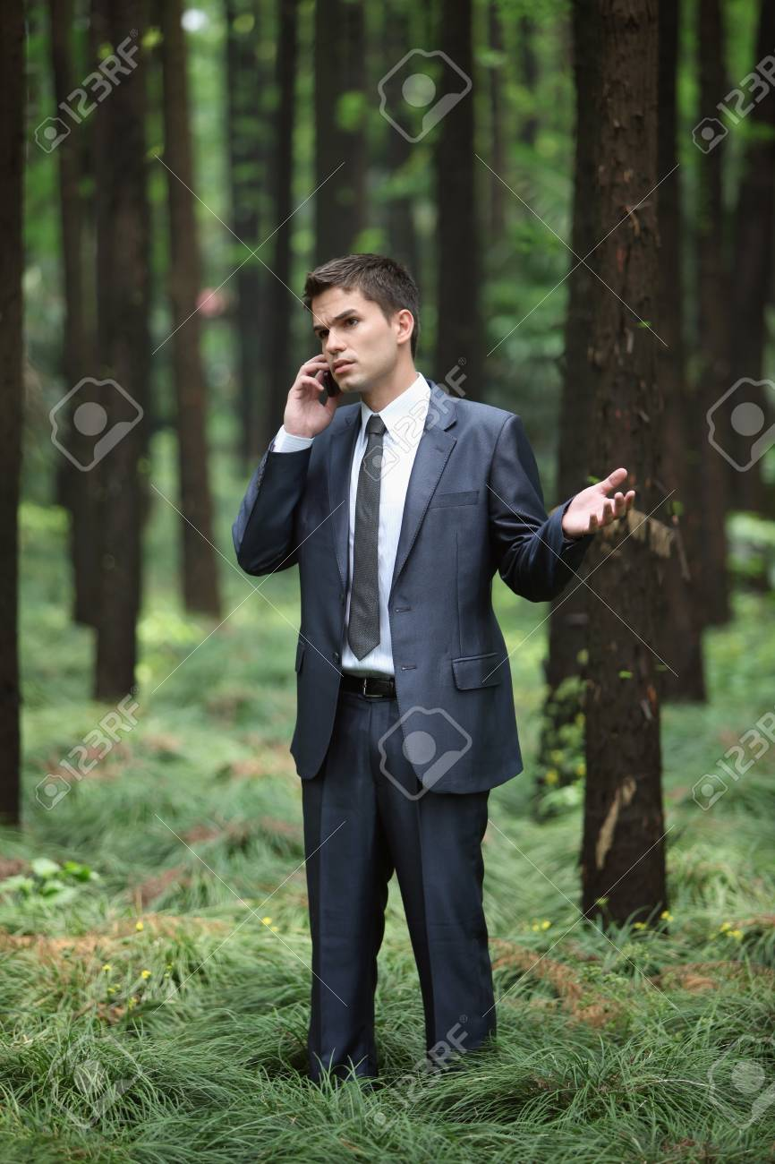 Businessman talking on the phone in forest Stock Photo - 8149269