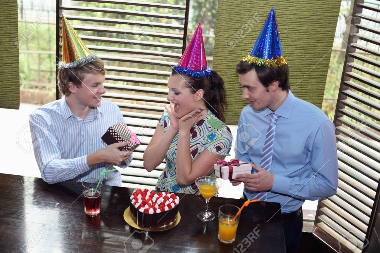 Business people celebrating colleague's birthday Stock Photo - 8149395