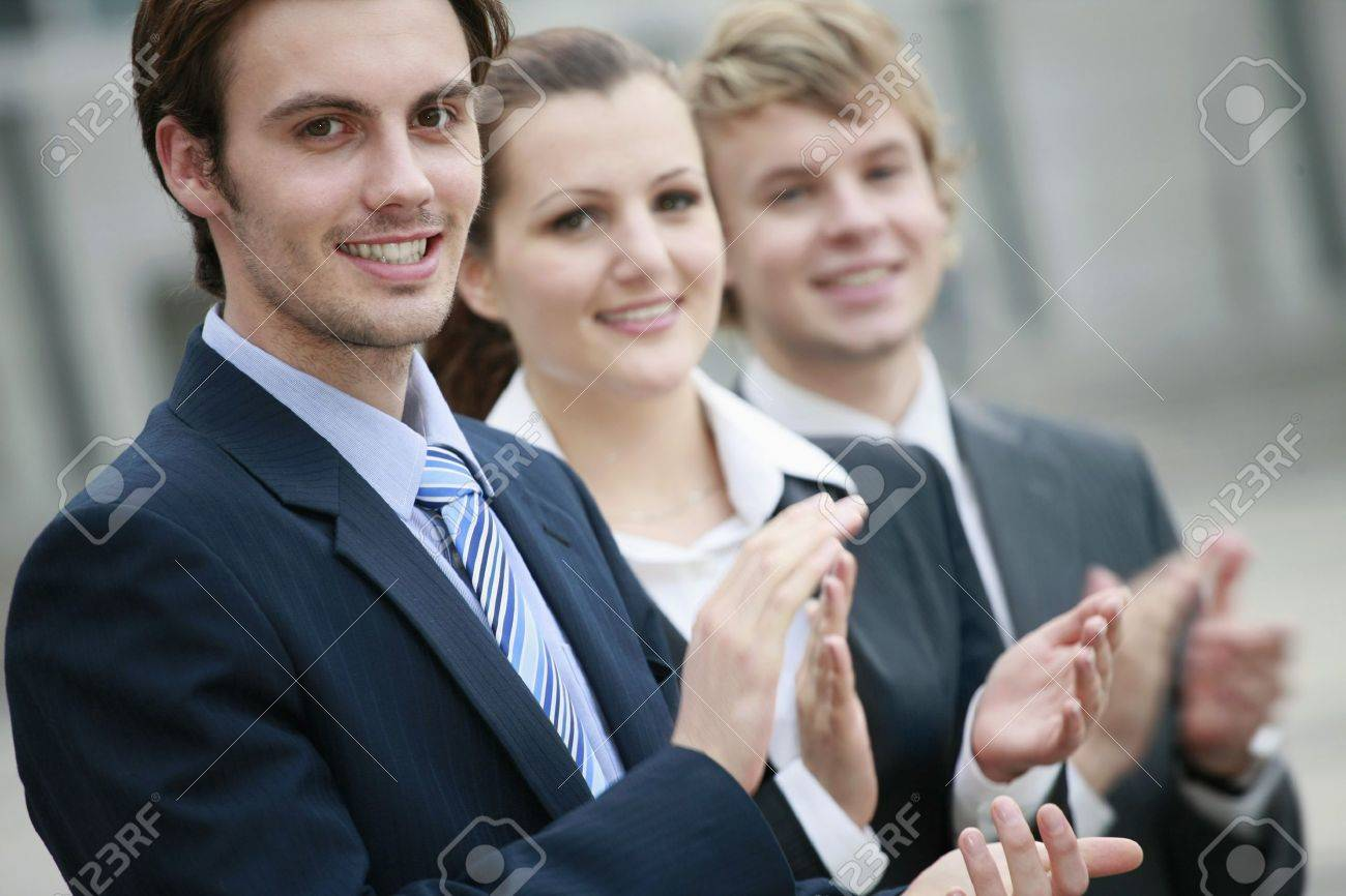 Business people clapping hands Stock Photo - 8148717