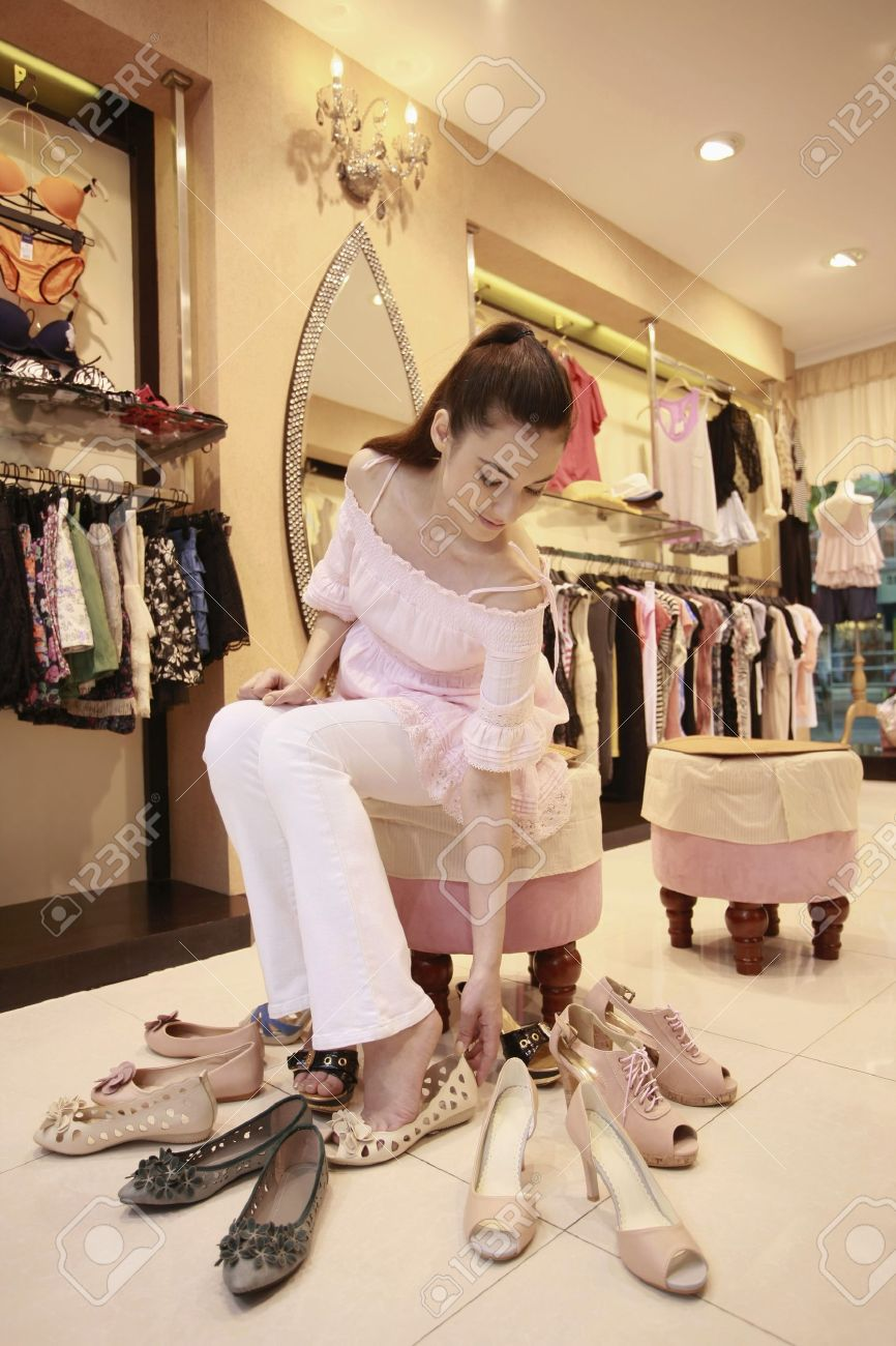 Woman trying on shoes Stock Photo - 8149071