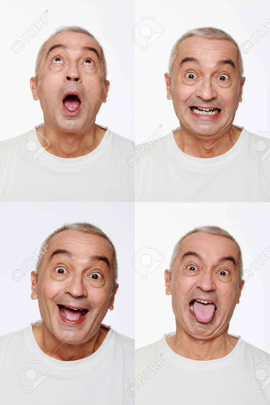 Man making a series of exaggerated faces for the camera Stock Photo - 9525641
