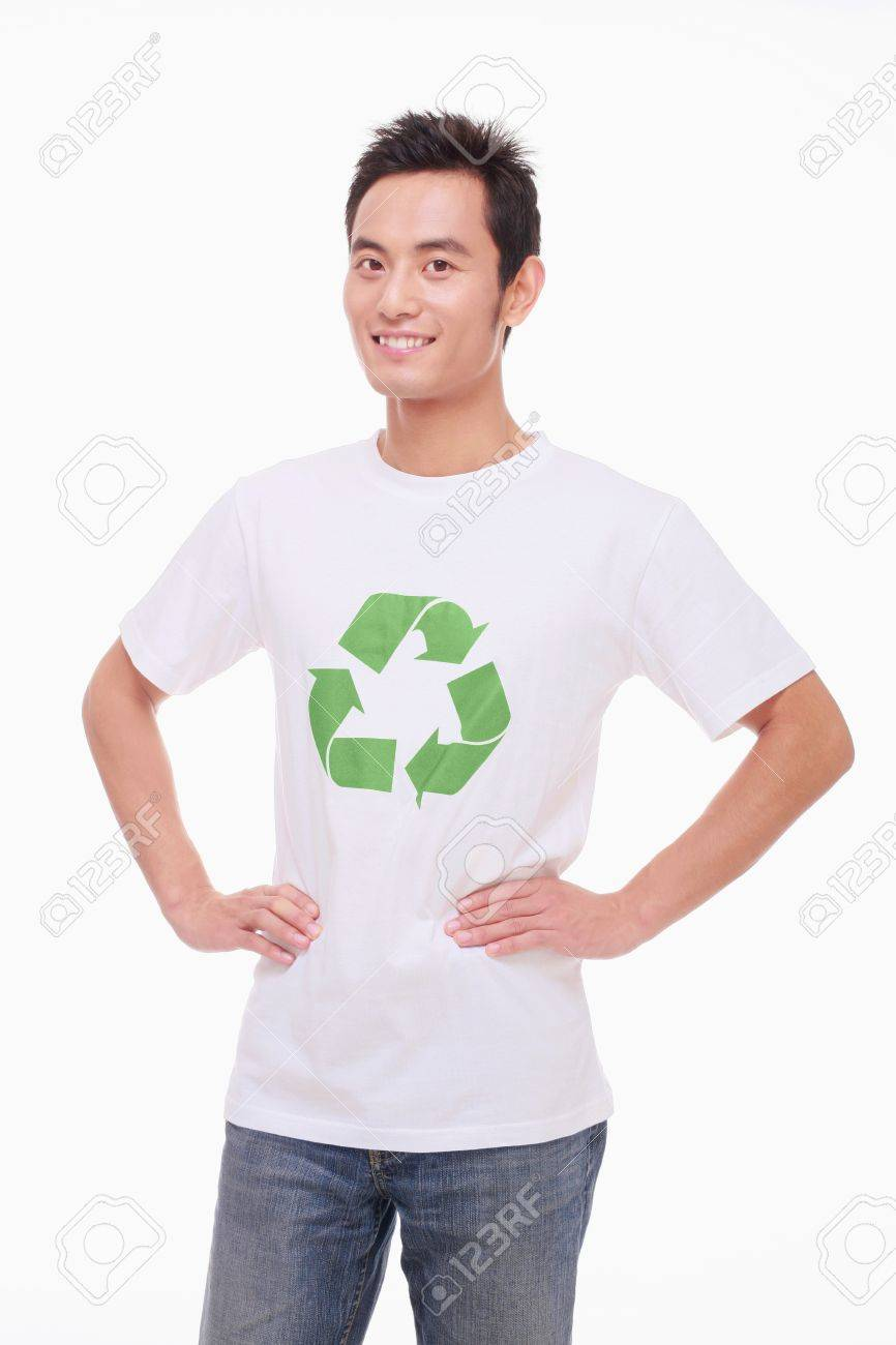 Man wearing T-shirt with recycling symbol Stock Photo - 9604446