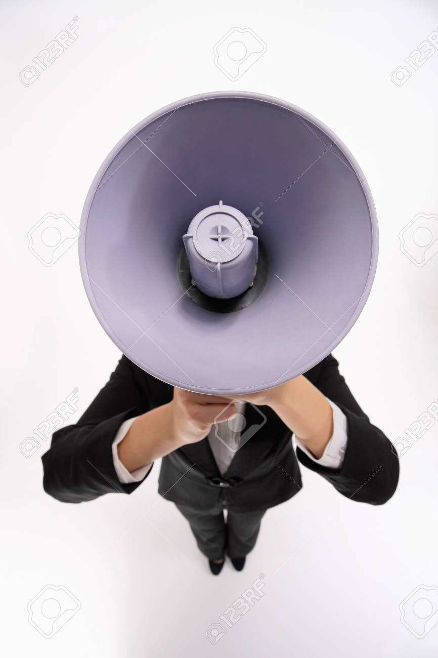 Businesswoman shouting through a megaphone Stock Photo - 9678461