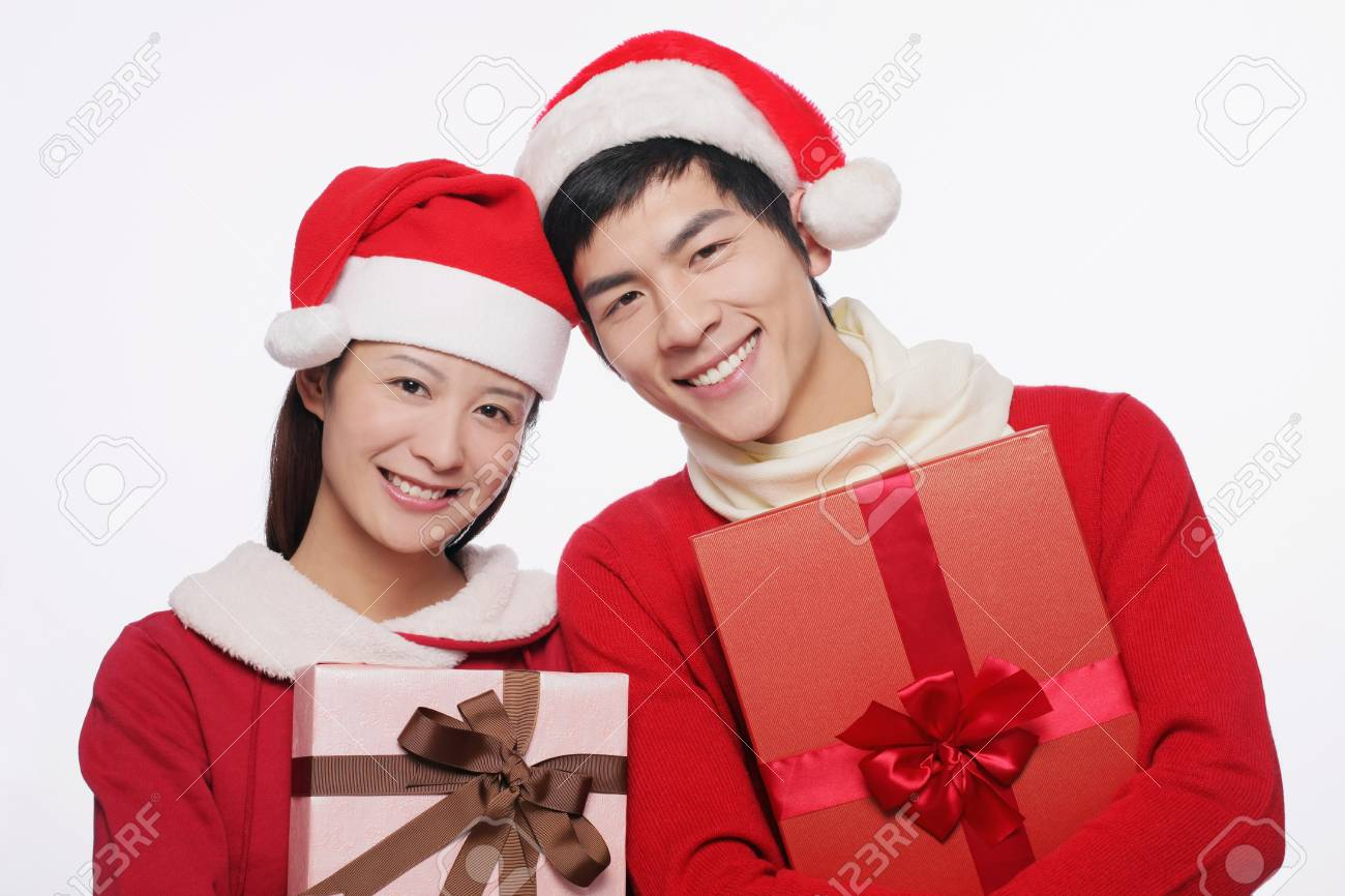 Man and woman with their gifts Stock Photo - 9678594