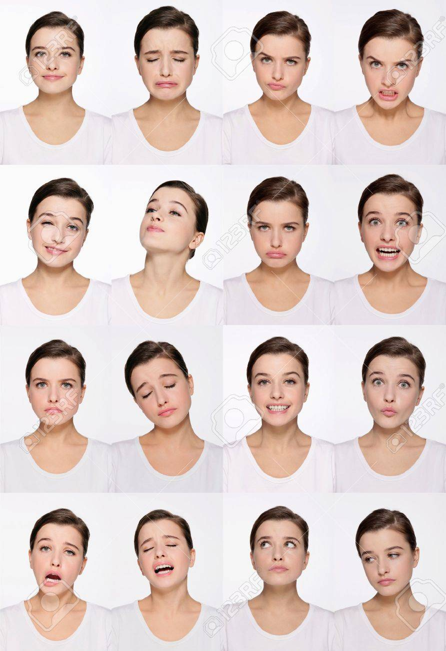Grimace face clip art stock photo woman pulls a face in upset - Frowning Face Montage Of Woman Pulling Different Expressions