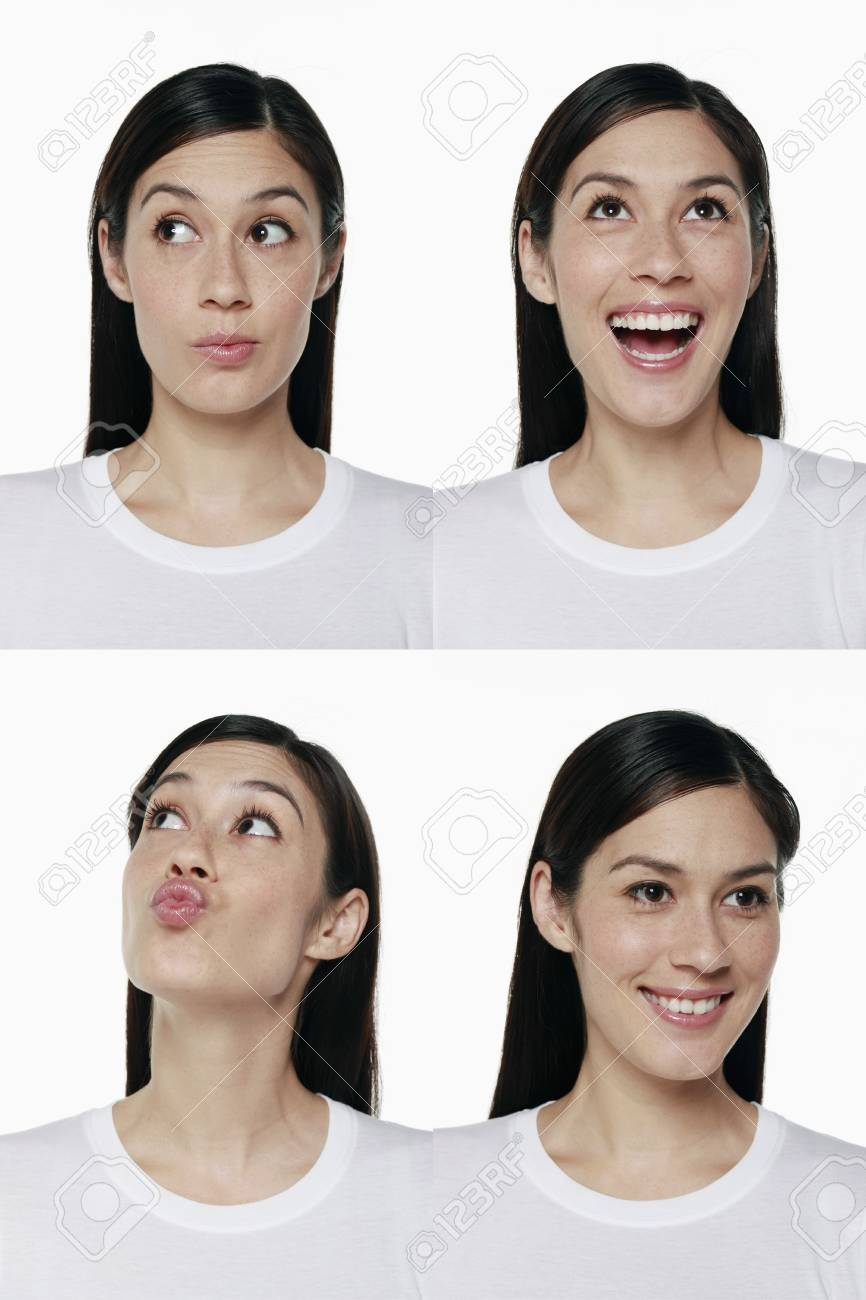 Montage of woman pulling different expressions Stock Photo - 9957754