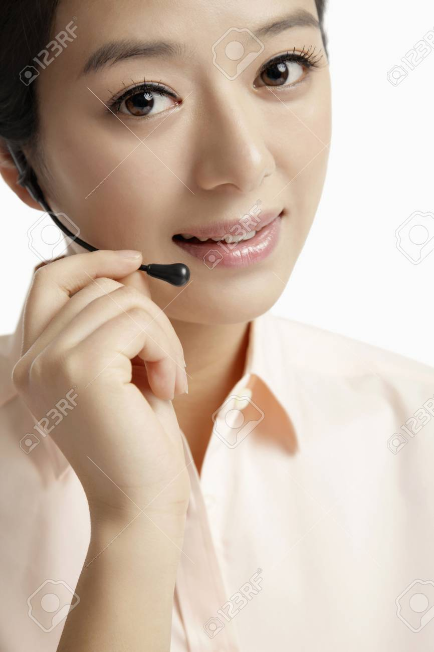 Businesswoman with telephone headset Stock Photo - 10862026